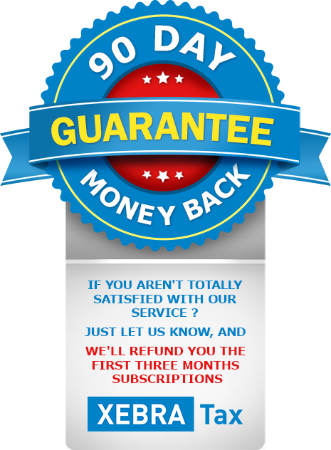 XebraTax Accounting 90 Day Moneyback Service Guarantee
